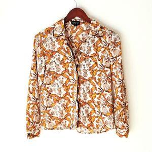 TOPSHOP mustard yellow floral button down shirt